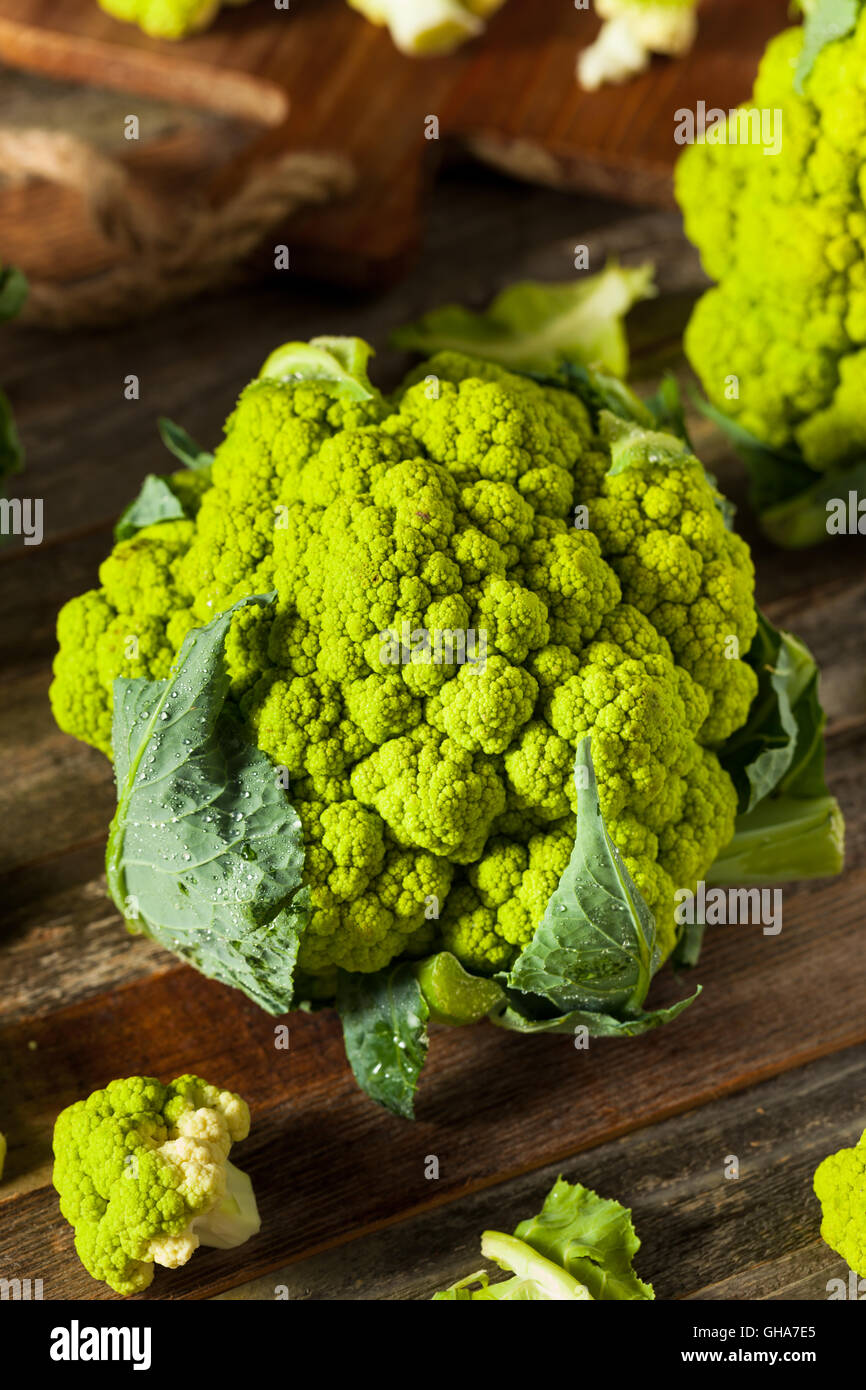 Raw Organic Green Broccoli Cauliflower Ready for Cooking - Stock Image