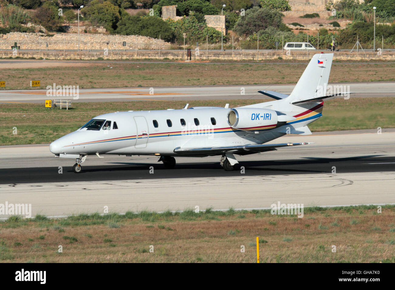 Cessna 560XL Citation XLS private jet on the runway while departing from Malta - Stock Image