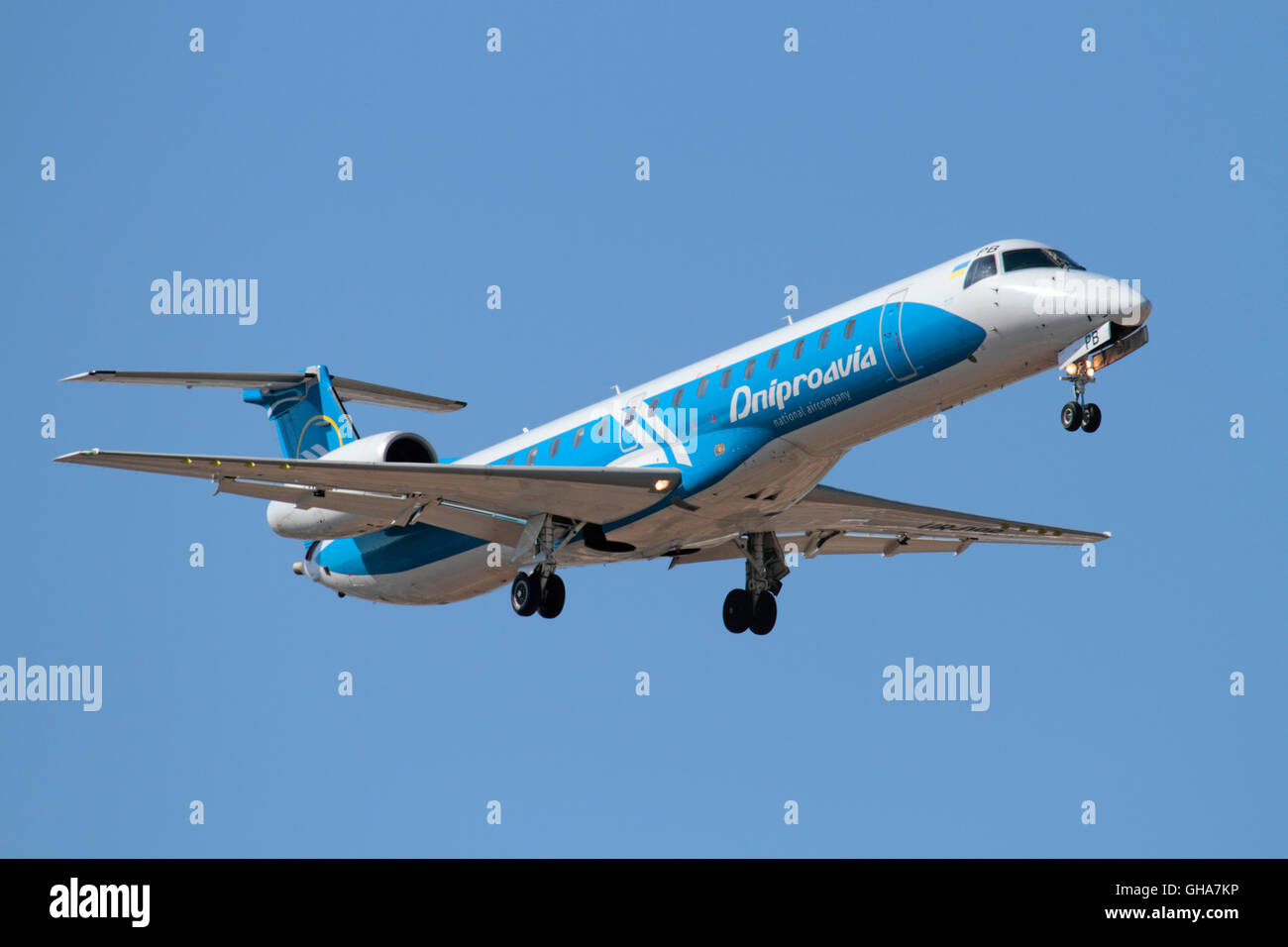 Dniproavia Embraer ERJ145 small regional airliner on approach - Stock Image