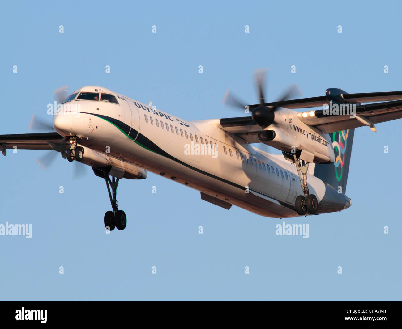 Bombardier Dash 8-Q400 turboprop plane belonging to Olympic Air, a regional subsidiary of Aegean Airlines, shown - Stock Image