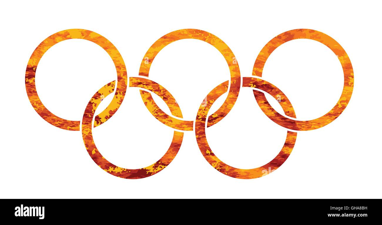 Olympic style rings of fire set over a white background - Stock Vector