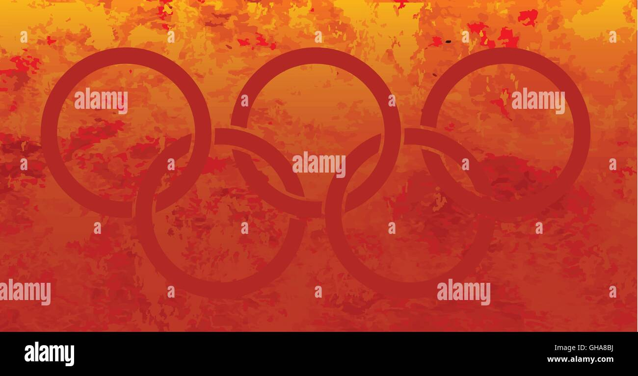 Five red interconnected rings set in fire background - Stock Vector