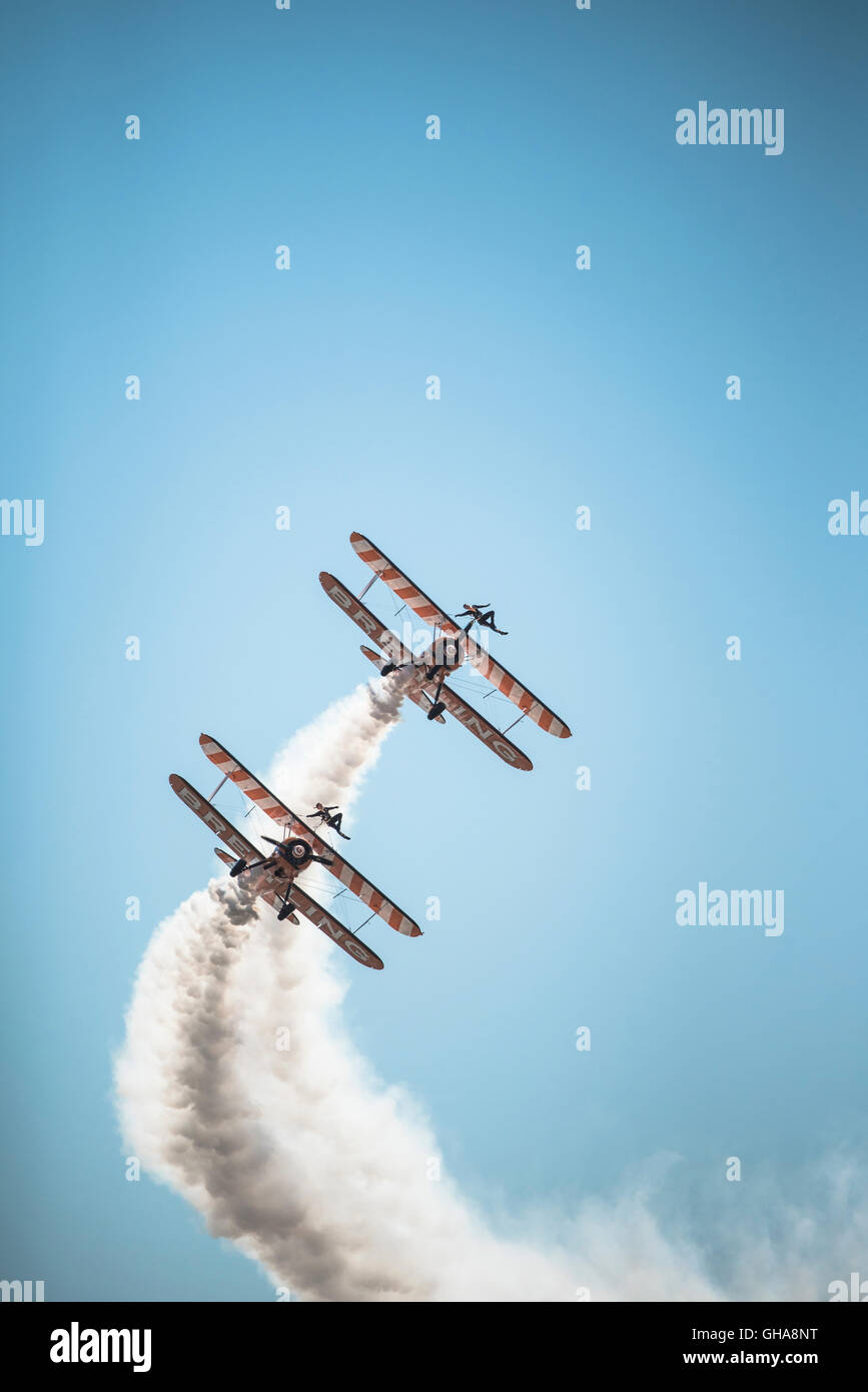 Breitling Wing Walkers at 2016 Blackpool airshow, UK. - Stock Image