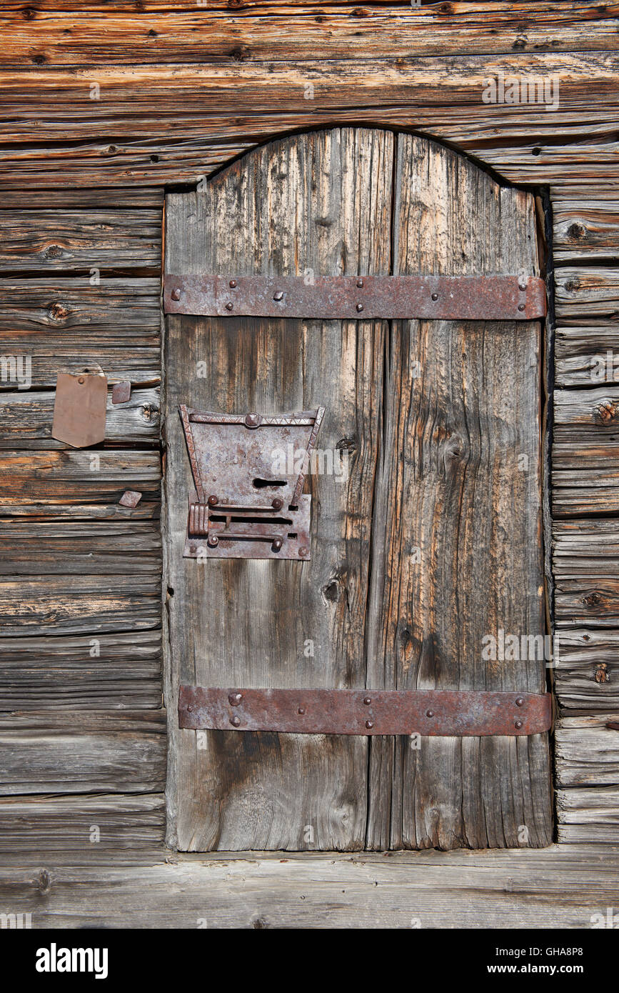 Wood Door Of Old Farm House French Alps Stock Photo