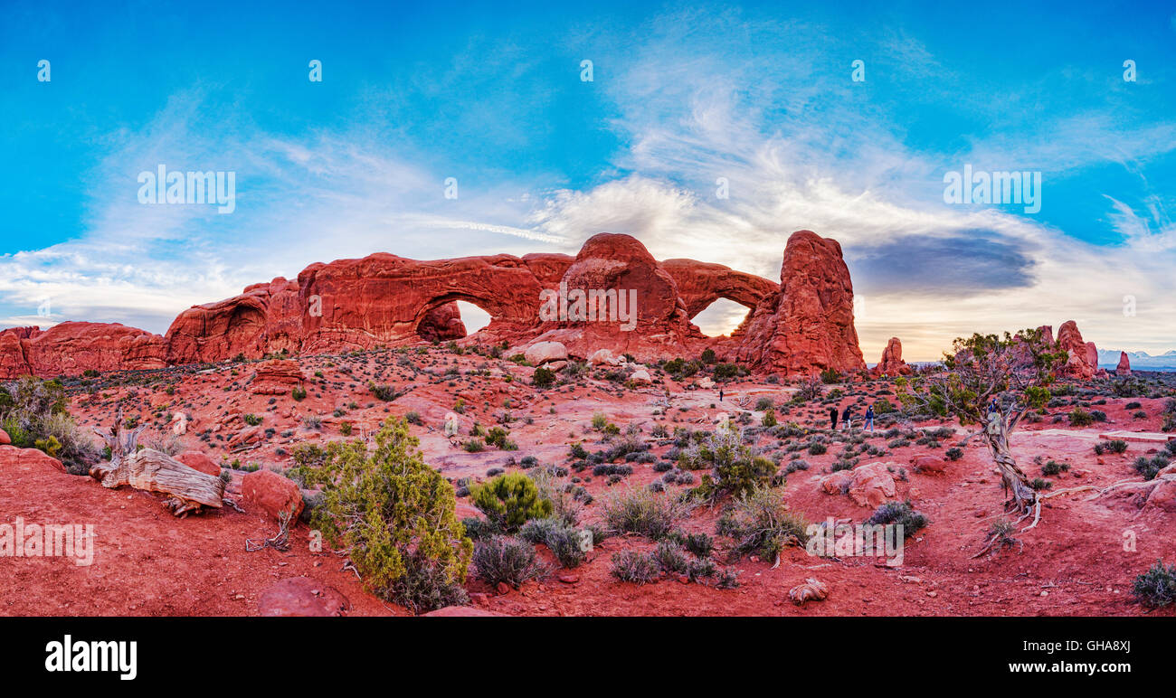 The Windows, Arches National Park, Utah, USA - Stock Image