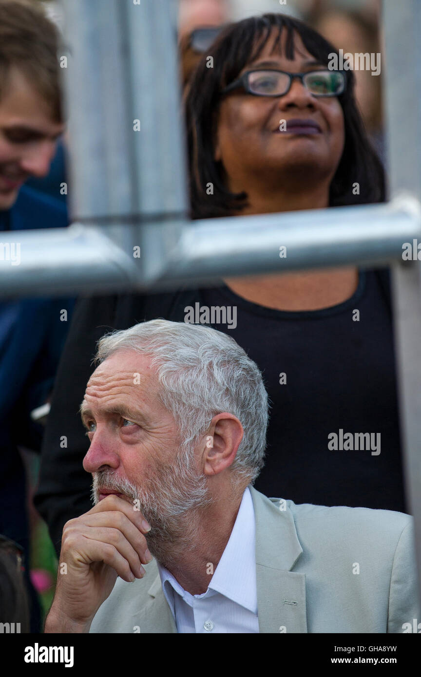 Labour Party leader Jeremy Corbyn and Diane Abbott as he waits to address his supporters on College Green in Bristol. - Stock Image