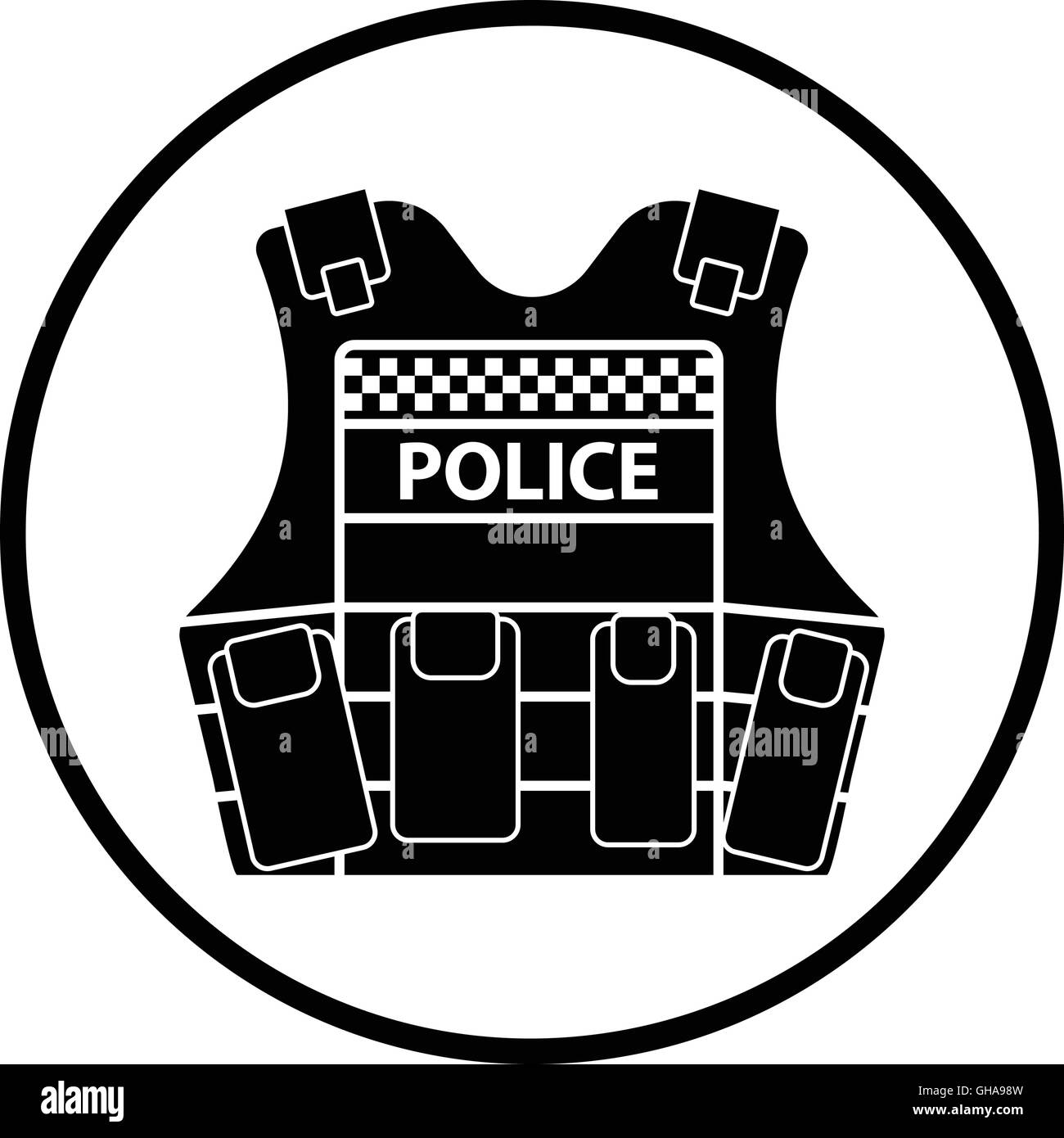 Police vest icon. Thin circle design. Vector illustration. - Stock Image