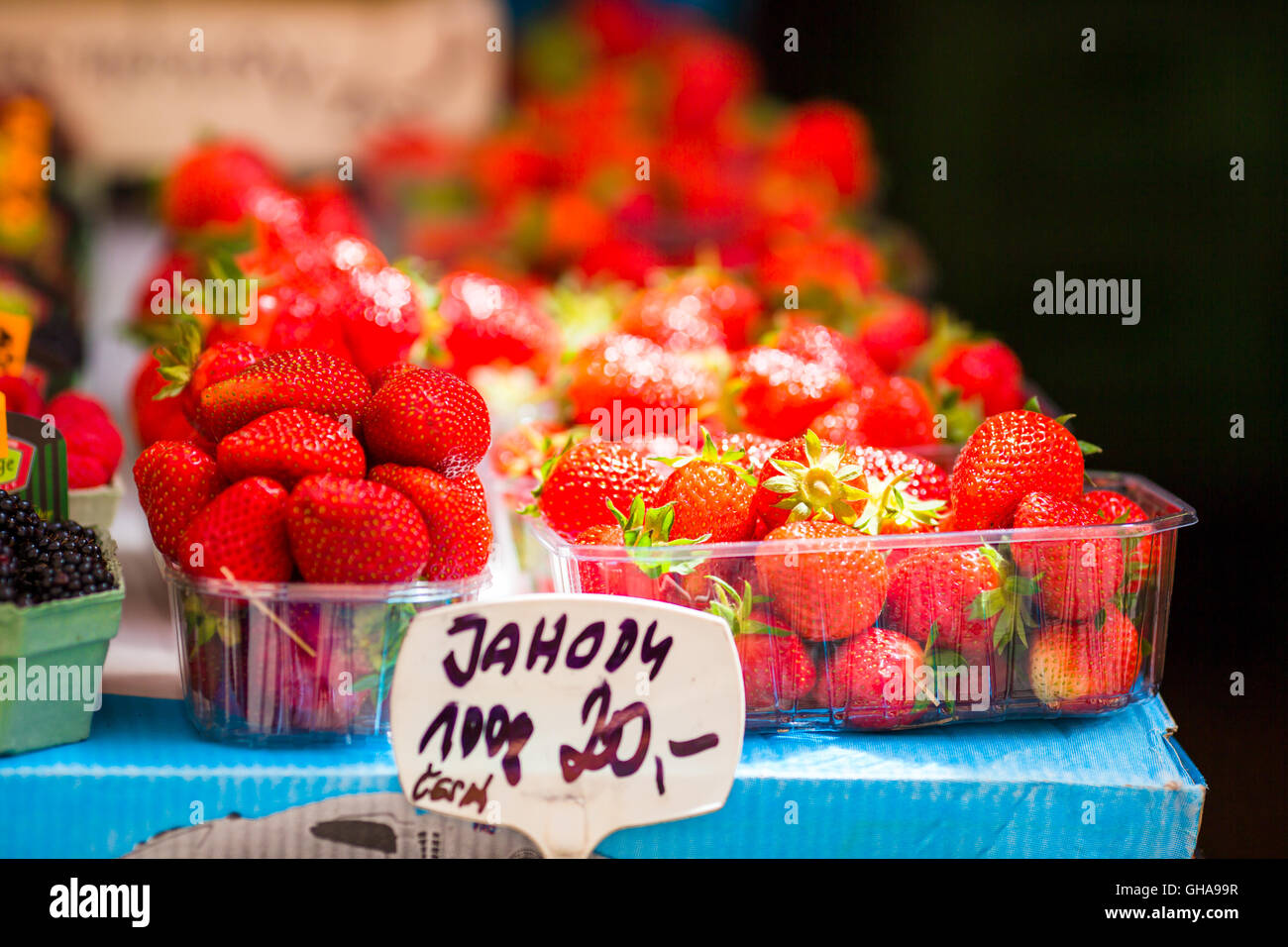 Berry Fruits At A Marketplace Blueberries Raspberries Strawberries Cherries And Blackberries On The Market Gardening Agriculture Harvest Forest