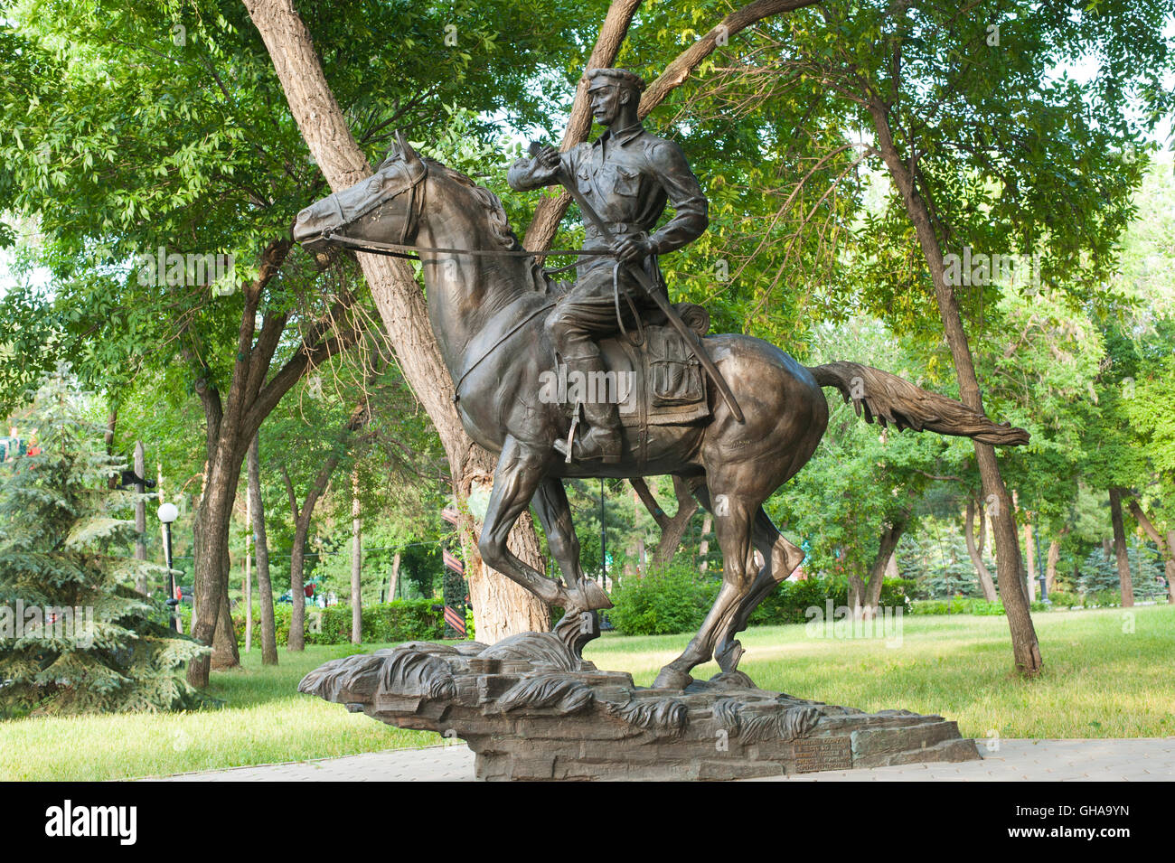 Orenburg, Russia-June 23,2016,  Soviet soldier. Sculpture cavalryman for memory 11 Cavalry Division from Great Patriotic - Stock Image