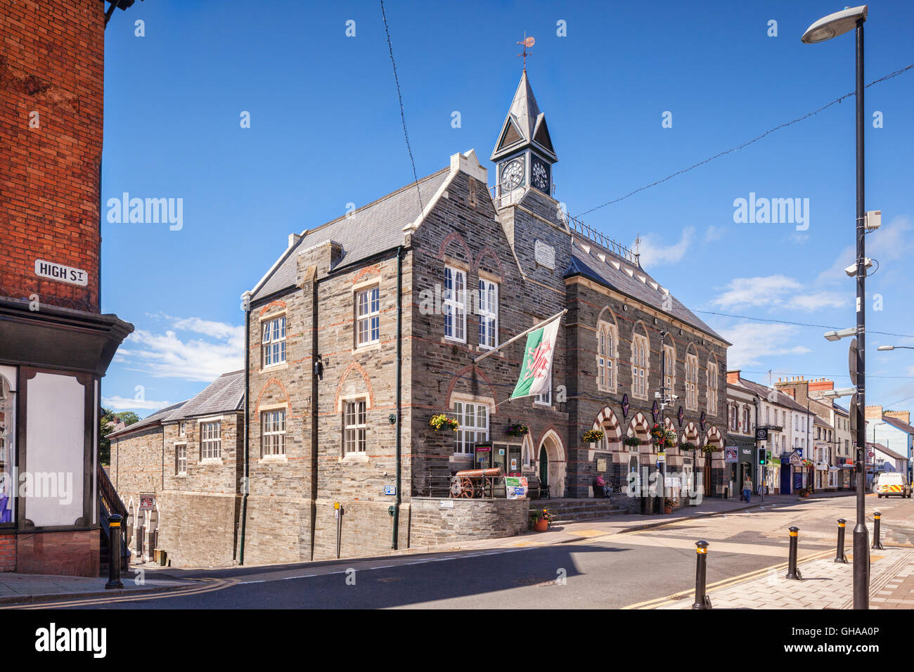 Cardigan High Street and Town Hall, Wales, UK - Stock Image