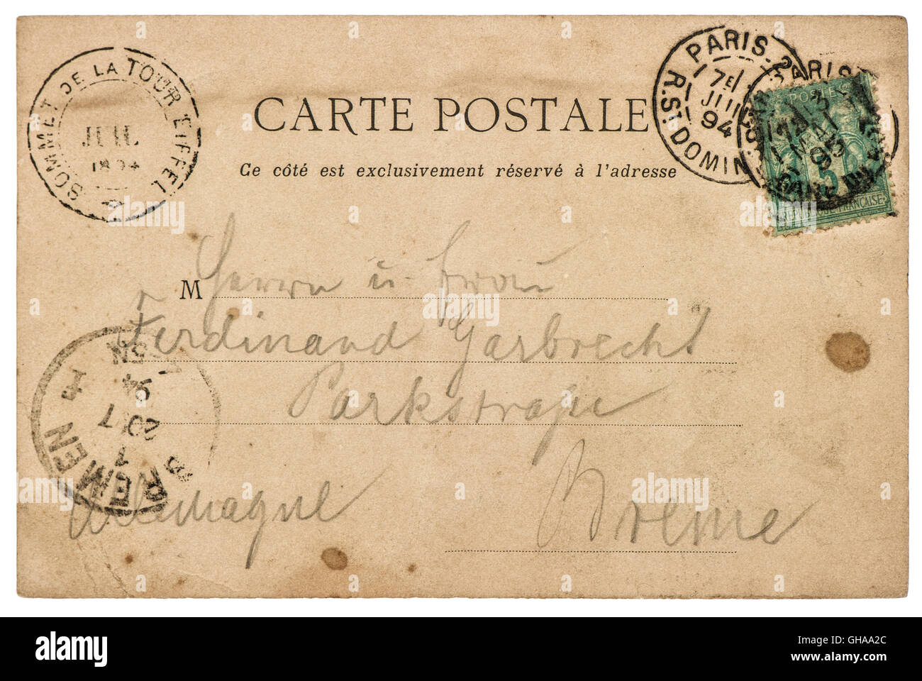 Vintage Handwritten Postcard Letter With Unreadable Undefined Text Used Paper Texture Background
