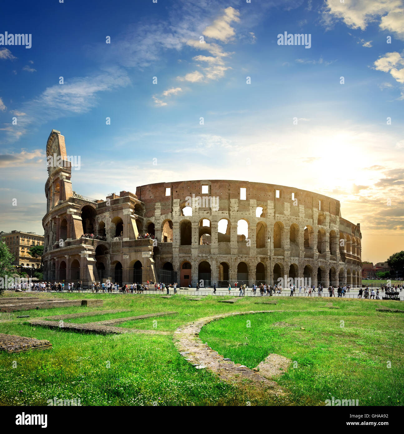 Ruins of great colosseum at the sunset - Stock Image