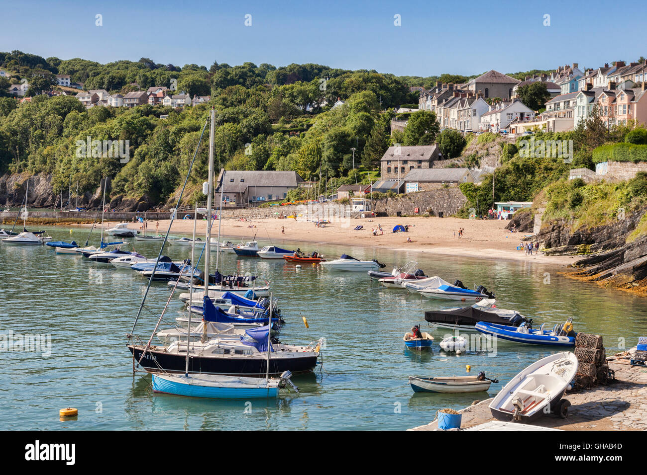 South Beach and harbour, New Quay, Ceredigion, Wales, UK - Stock Image