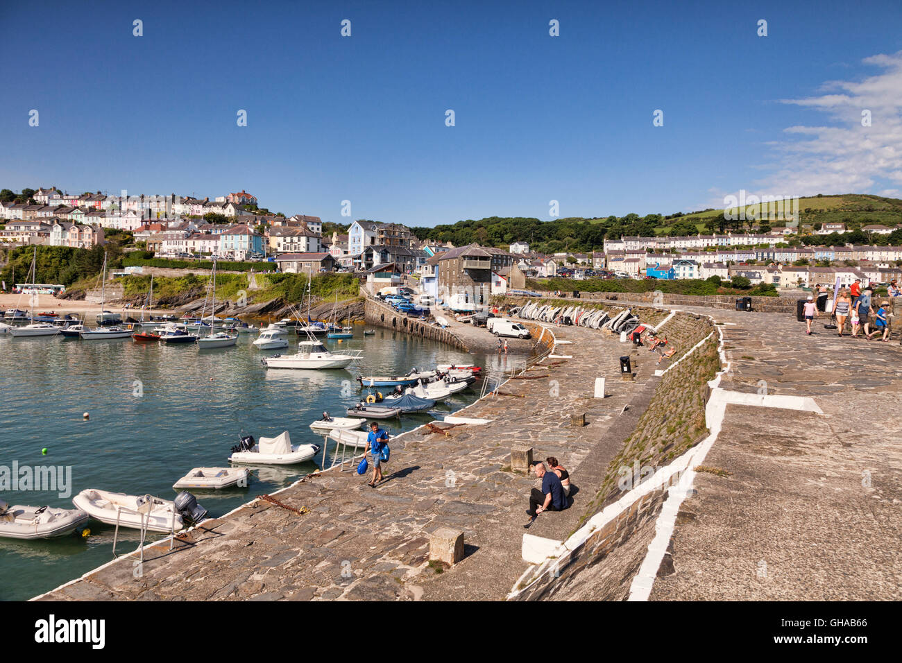 Harbour and sea wall at New Quay, Ceredigion, Wales, UK - Stock Image
