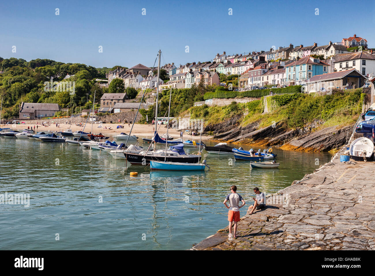 South Beach, New Quay, Ceredigion, Wales, UK - Stock Image