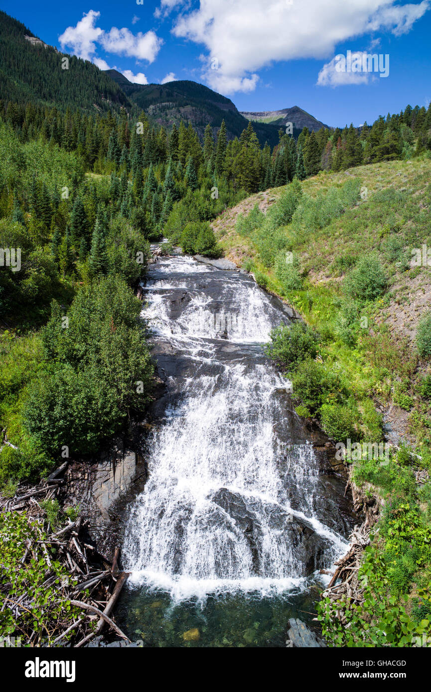 Waterfall along Oh-Be Joyful Trail; off shoulder of Mt. Owen; Gunnison National Forest; near Crested Butte; Colorado; - Stock Image