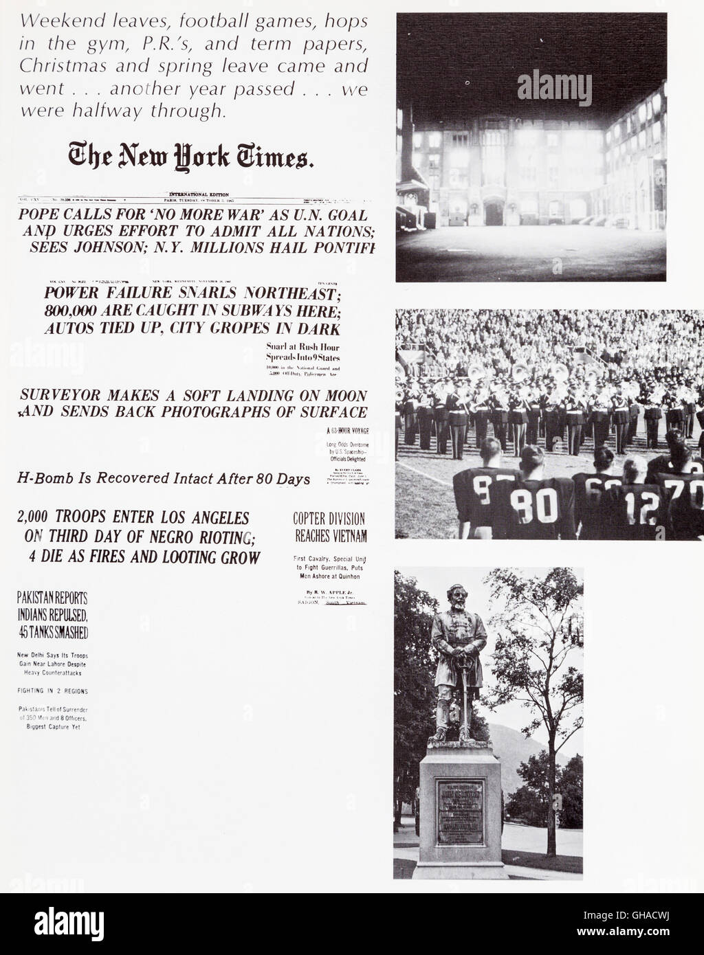 Major Newspaper Headlines from 1965 and 1966 Yearbook, Howitzer, United States Military Academy, West Point, 1960s - Stock Image