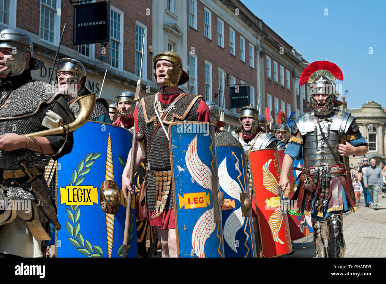 Soldiers marching through the city centre at the Roman Festival York North Yorkshire England UK United Kingdom GB - Stock Image