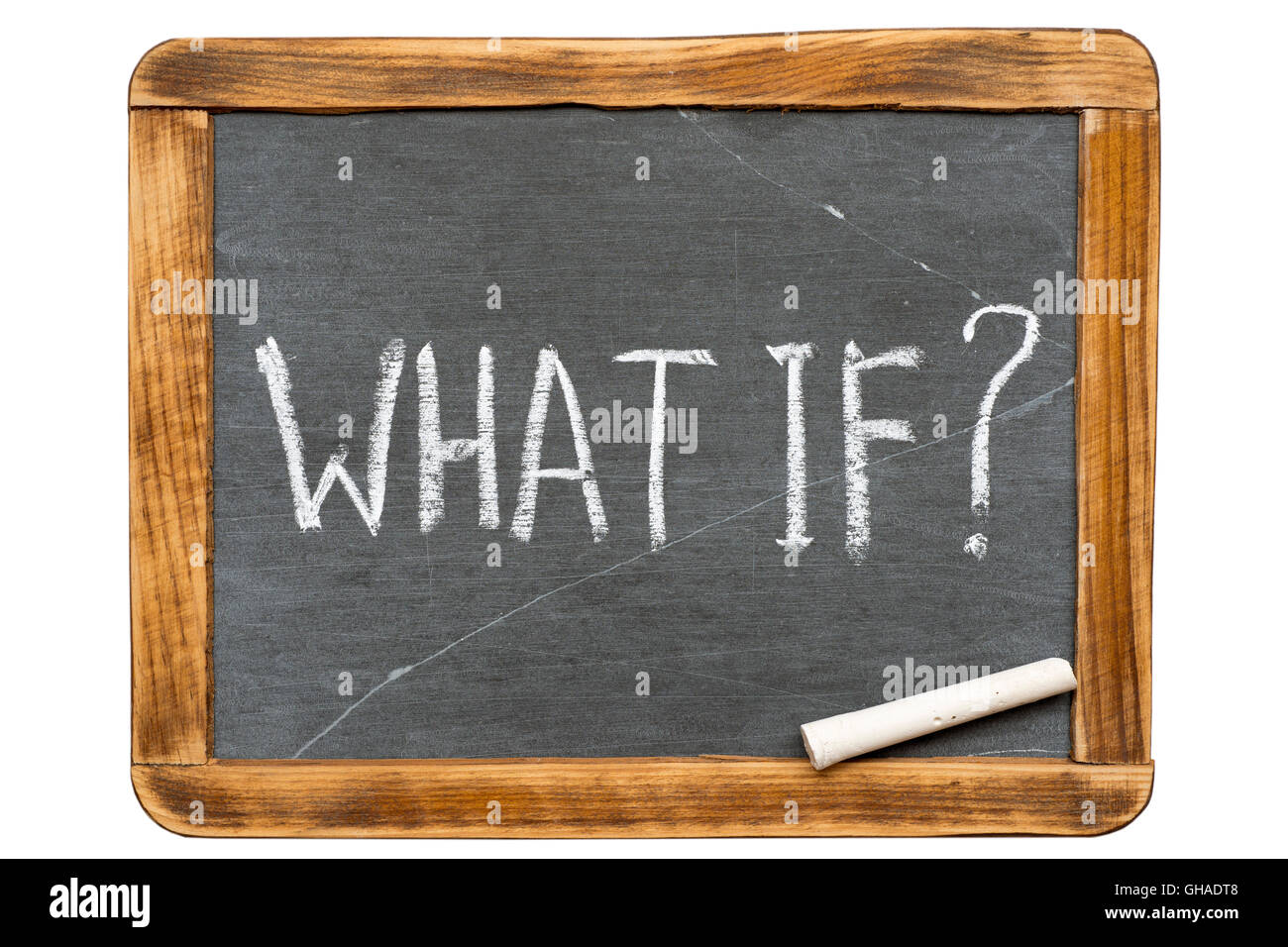 what if question handwritten on vintage isolated slate chalkboard with piece of chalk - Stock Image