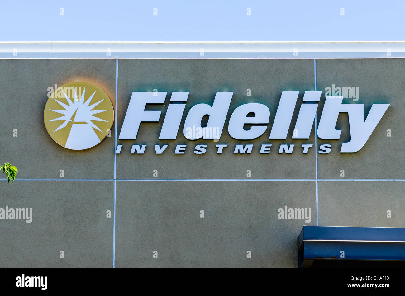 A Fidelity investments sign in San Jose California - Stock Image