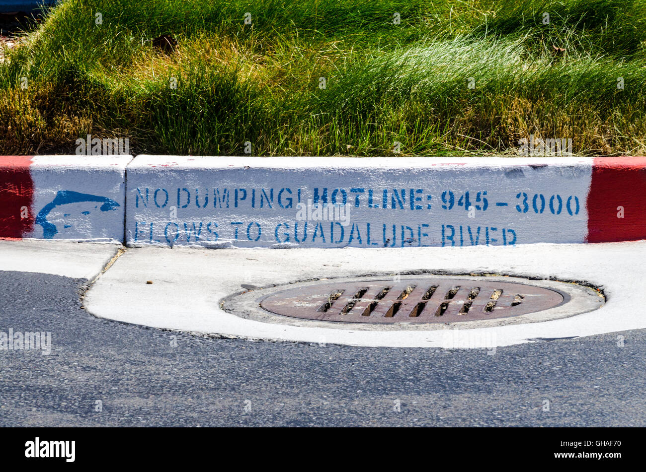 A storm drain and sign reminding people to not let pollutants drain into the storm drains in San Jose California - Stock Image