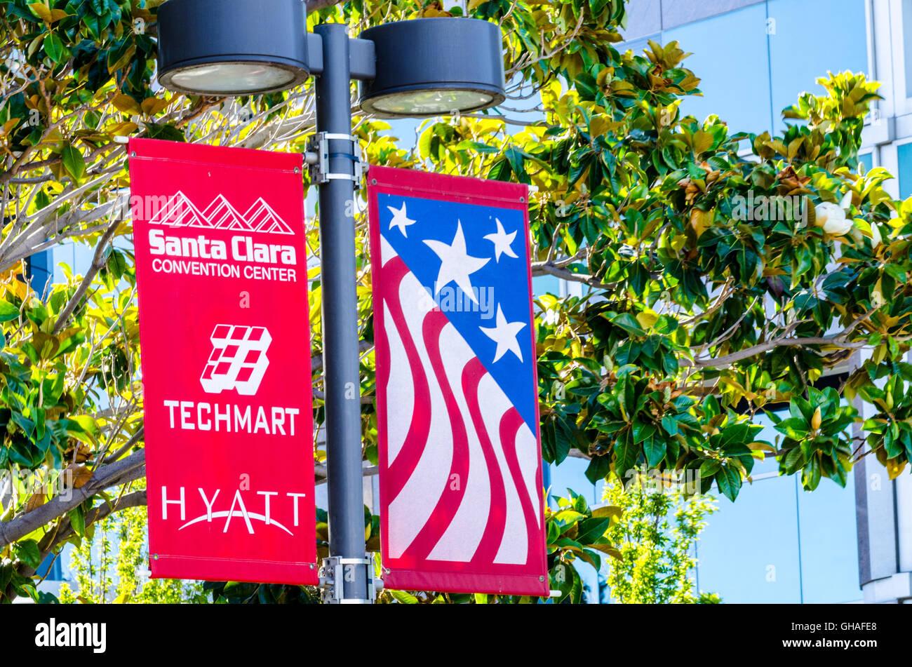 Banners near the Santa Clara Convention Center in Santa Clara California Stock Photo