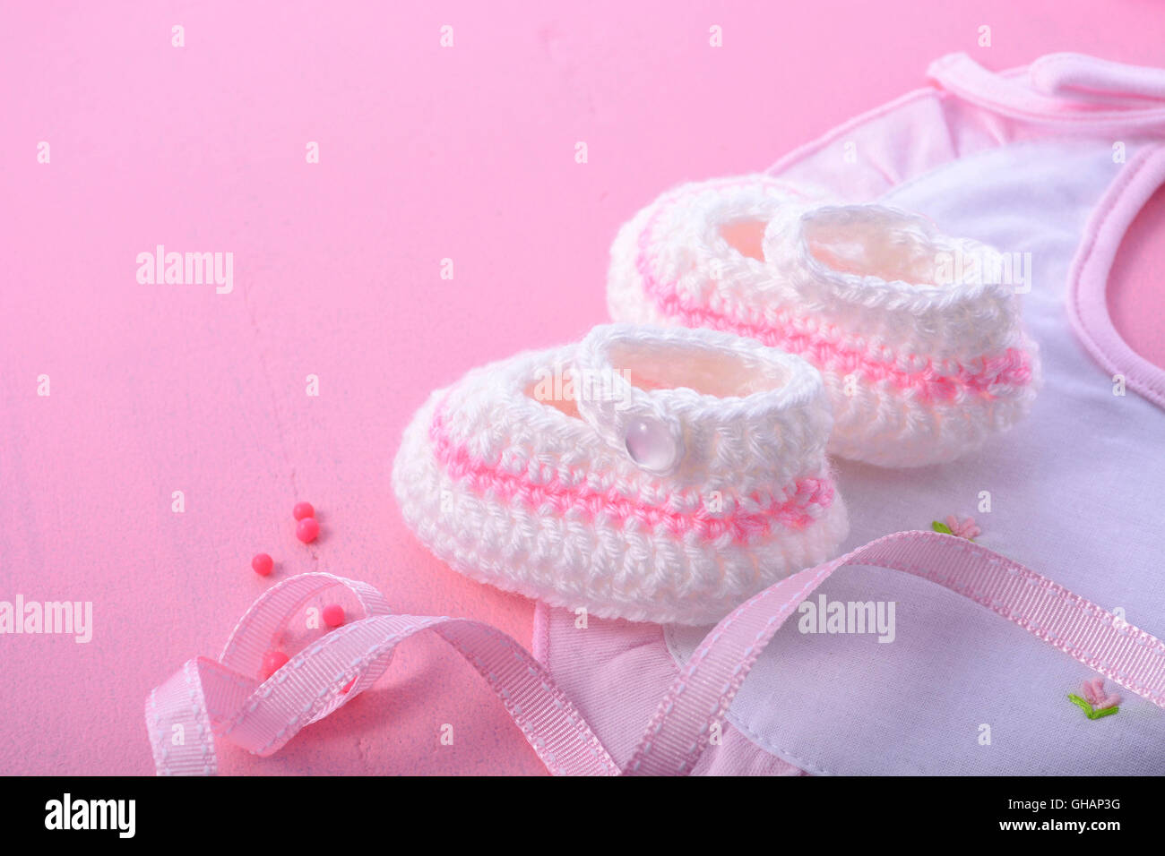 cd558ffb8973b Its a Girl pink theme Baby Shower or Nursery background with decorated  borders on pink wood background.