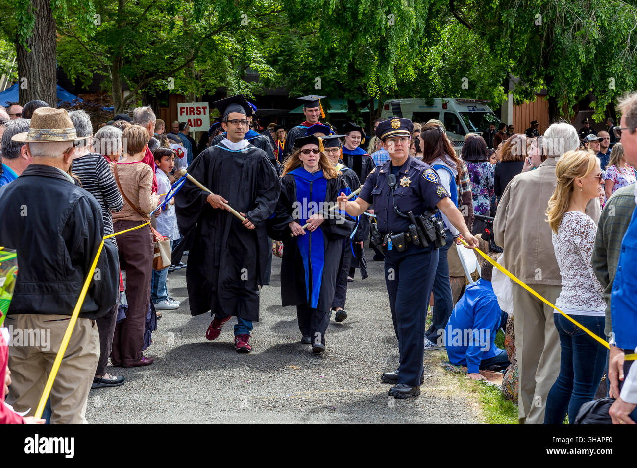 University graduation ceremony, graduation ceremony, Sonoma State University, city of Rohnert Park, California - Stock Image