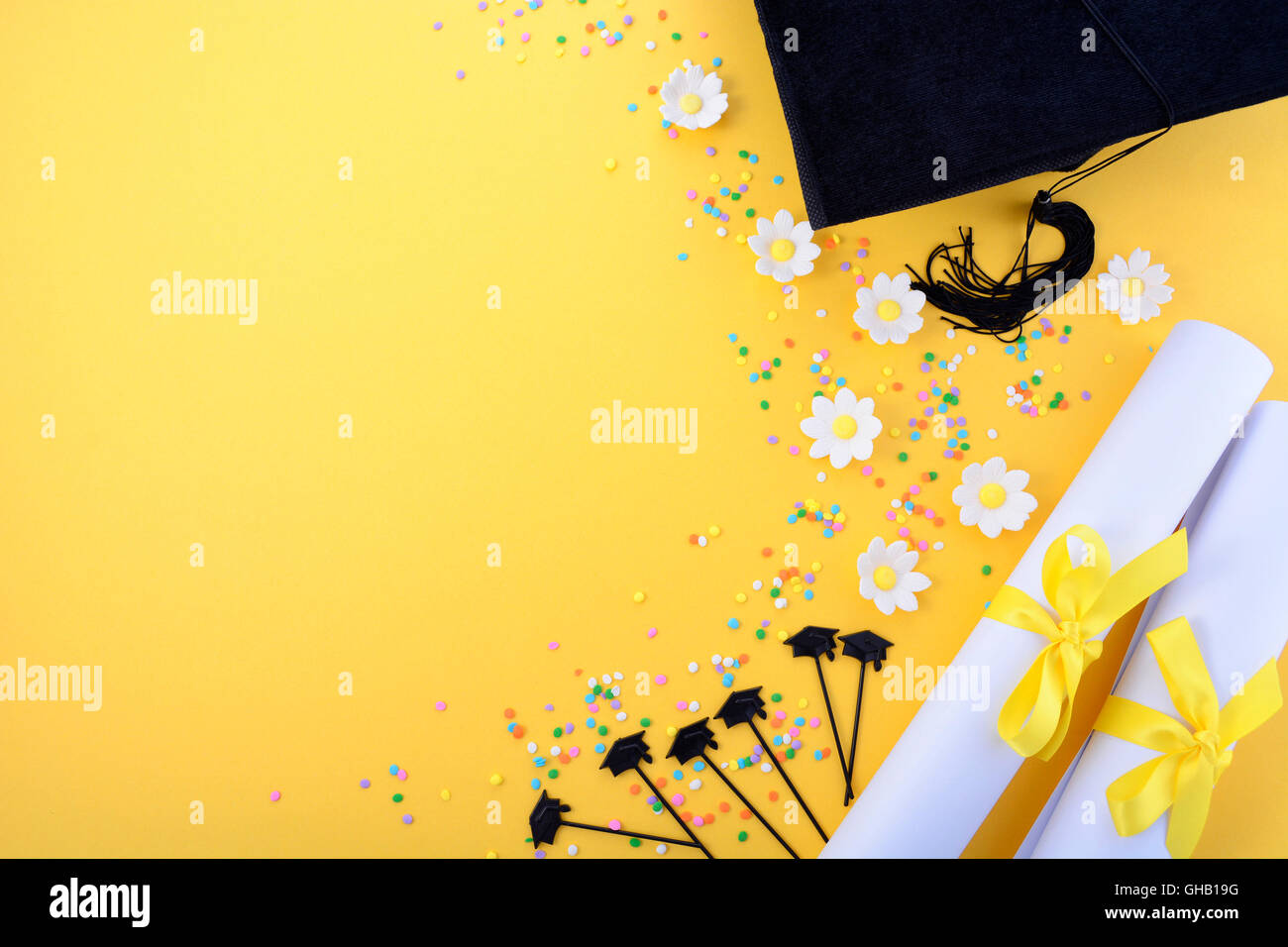 Yellow Black And White Theme Graduation Background With ...