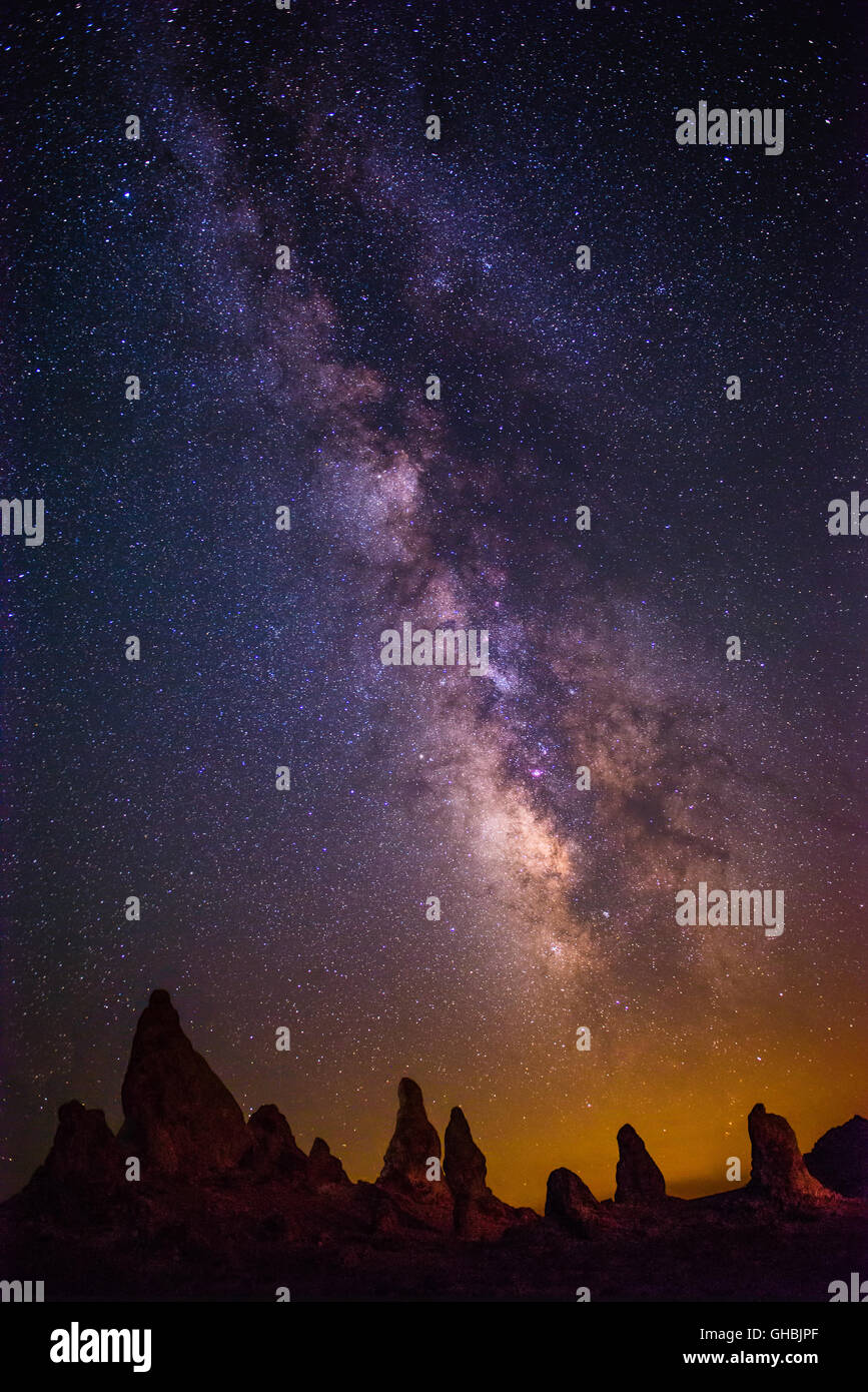 The Milky Way Galaxy over the Trona Pinnacles in California. - Stock Image