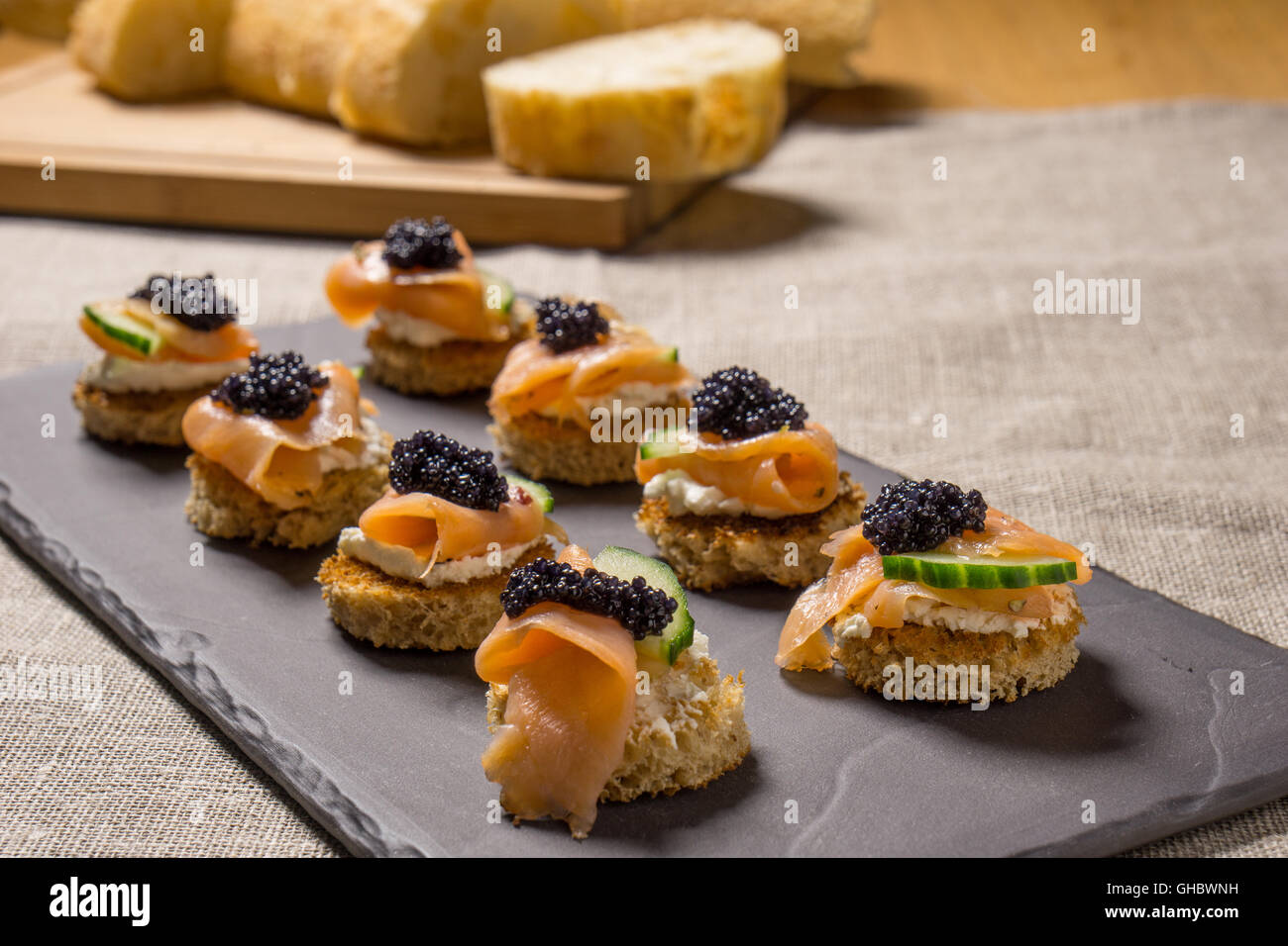 Smoked Salmon Appetizer with Cream Cheese and Caviar - Stock Image