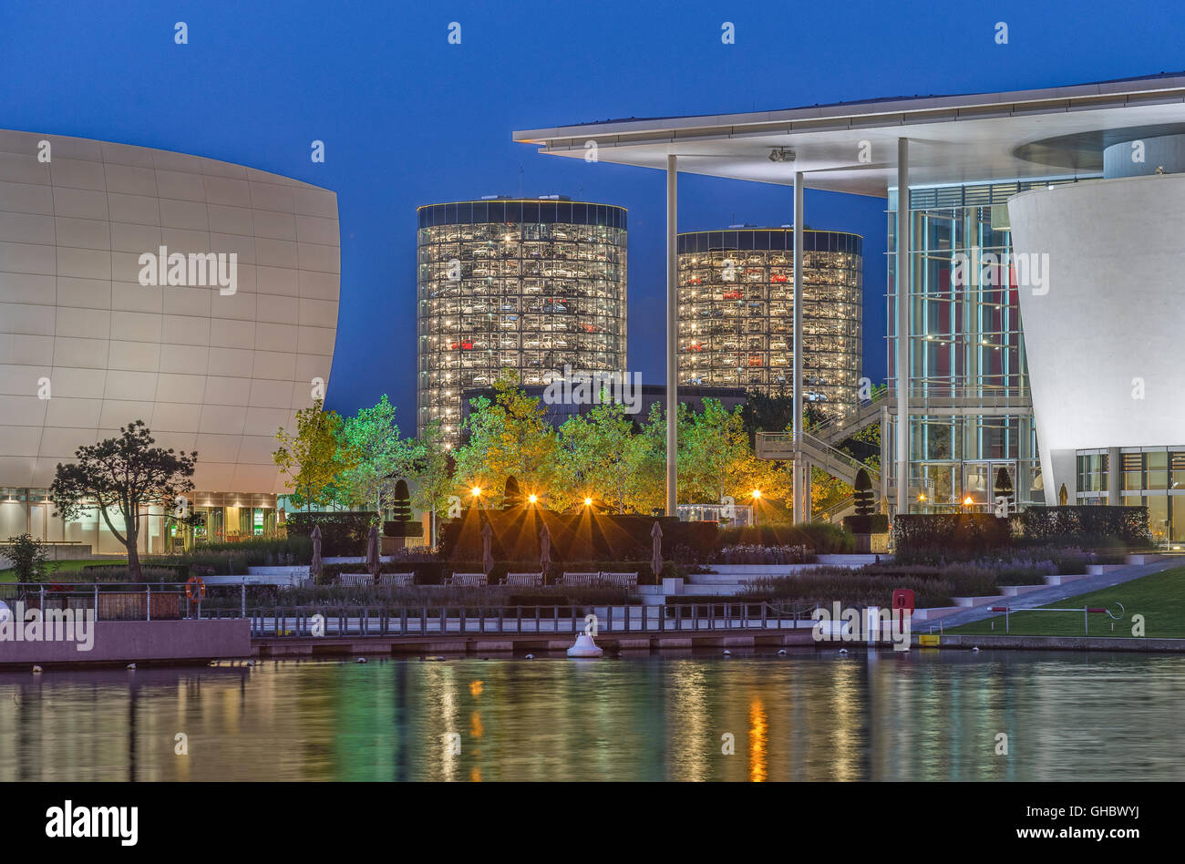 geography / travel, Germany, Lower Saxony, Wolfsburg, Autostadt in the evening, Additional-Rights-Clearance-Info - Stock Image