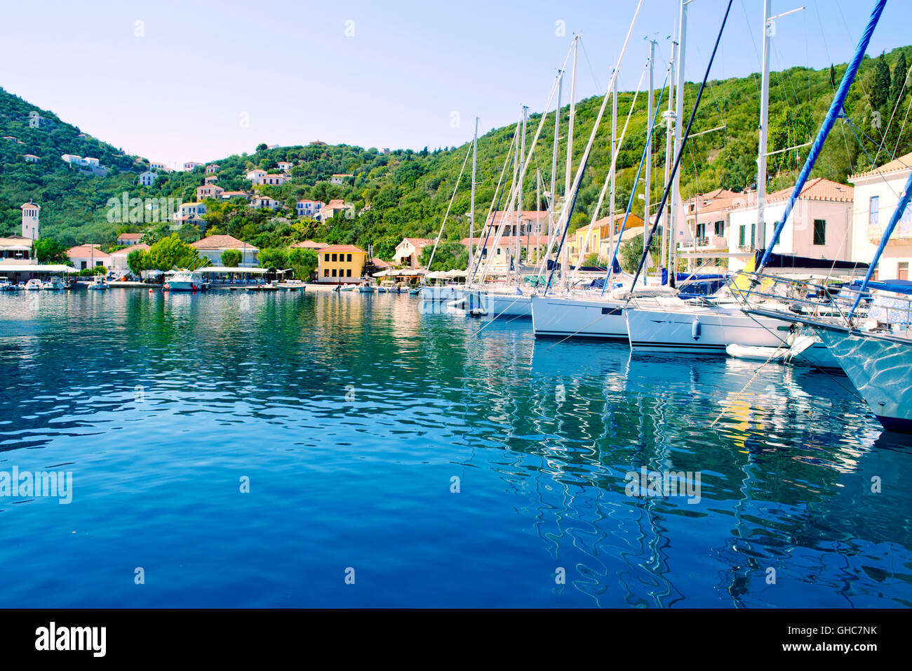 Kioni port at Ithaca Ionian islands Greece - Stock Image