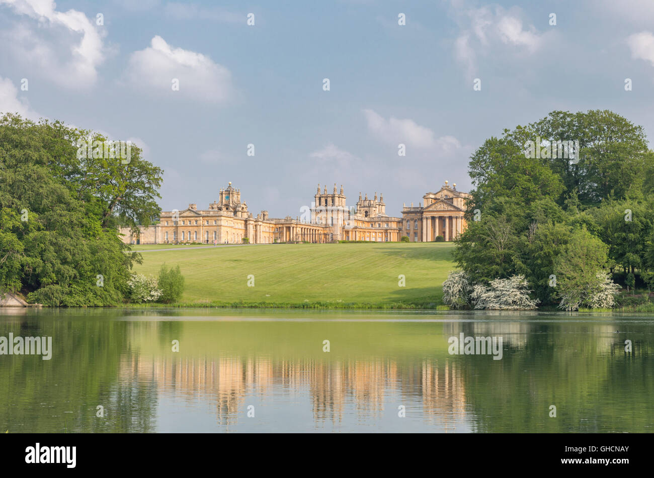 Blenheim Palace and it's landscaped parkland, Woodstock, Oxfordshire, England, UK - Stock Image