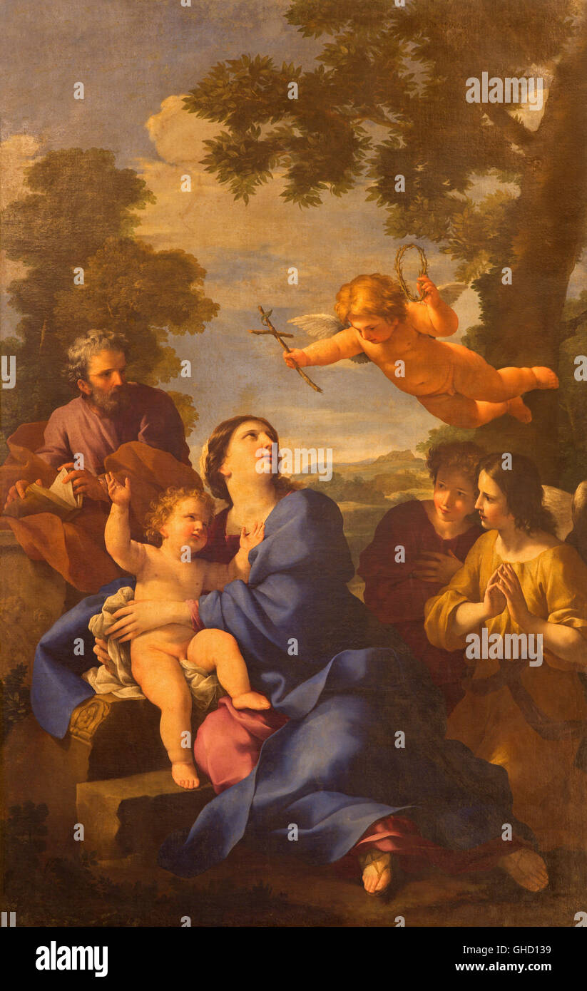 ROME, ITALY, MARCH 10, 2016: The painting The Reposo of Holy family in Egypt in church Chiesa di San Carlino alle - Stock Image