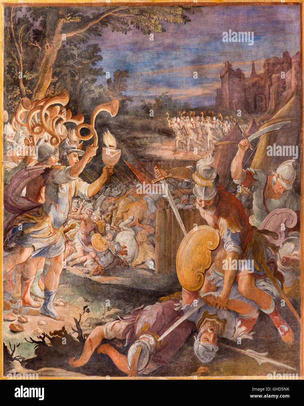 ROME, ITALY - MARCH 11, 2016: The fresco The Battle of Jericho in church Basilica di San Vitale by Tarquinio Ligustri - Stock Image