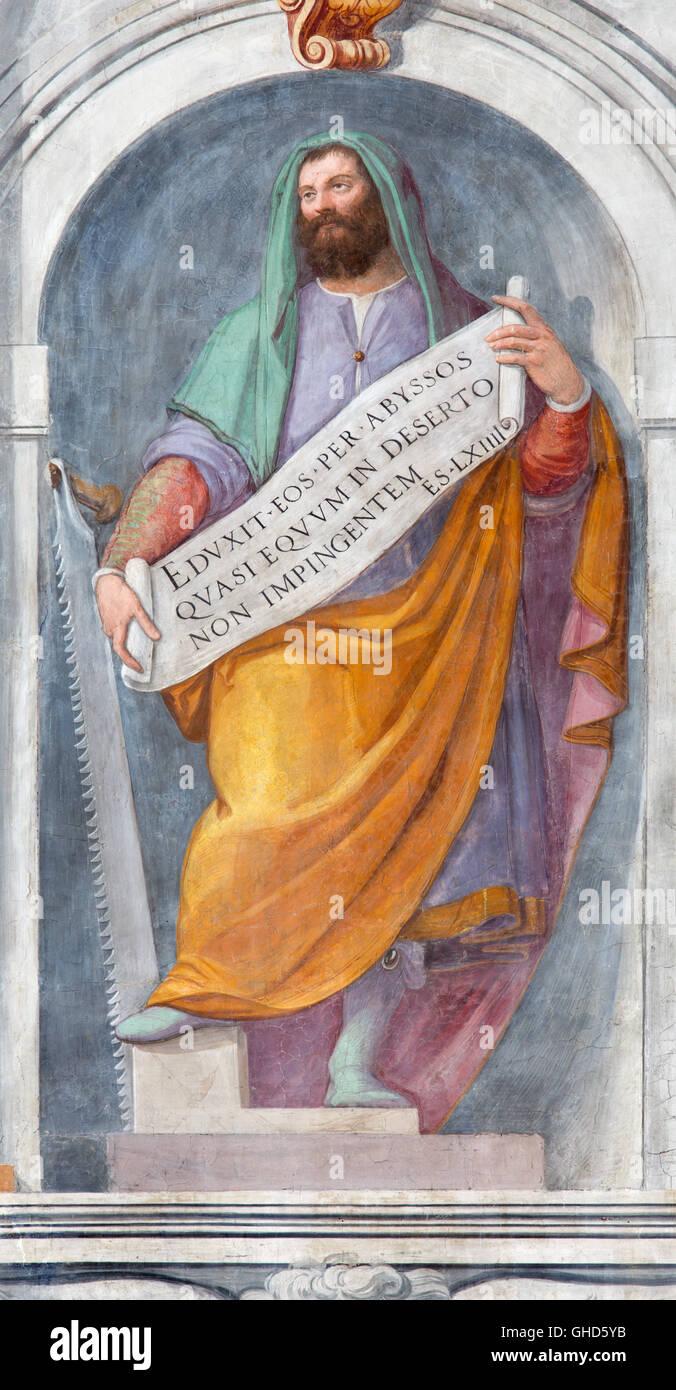 ROME, ITALY - MARCH 11, 2016: The prophet Ezekiel fresco in church Basilica di San Vitale by Tarquinio Ligustri - Stock Image
