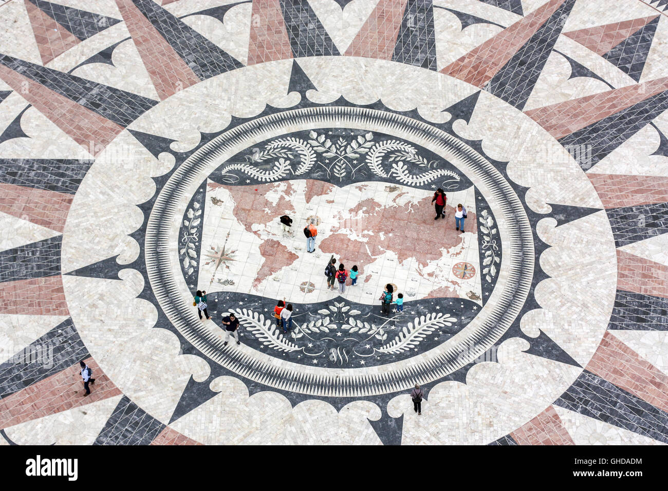 aerial view of giant mosaic of a world map and compass at the discoveries monument, Lisbon, Portugal - Stock Image