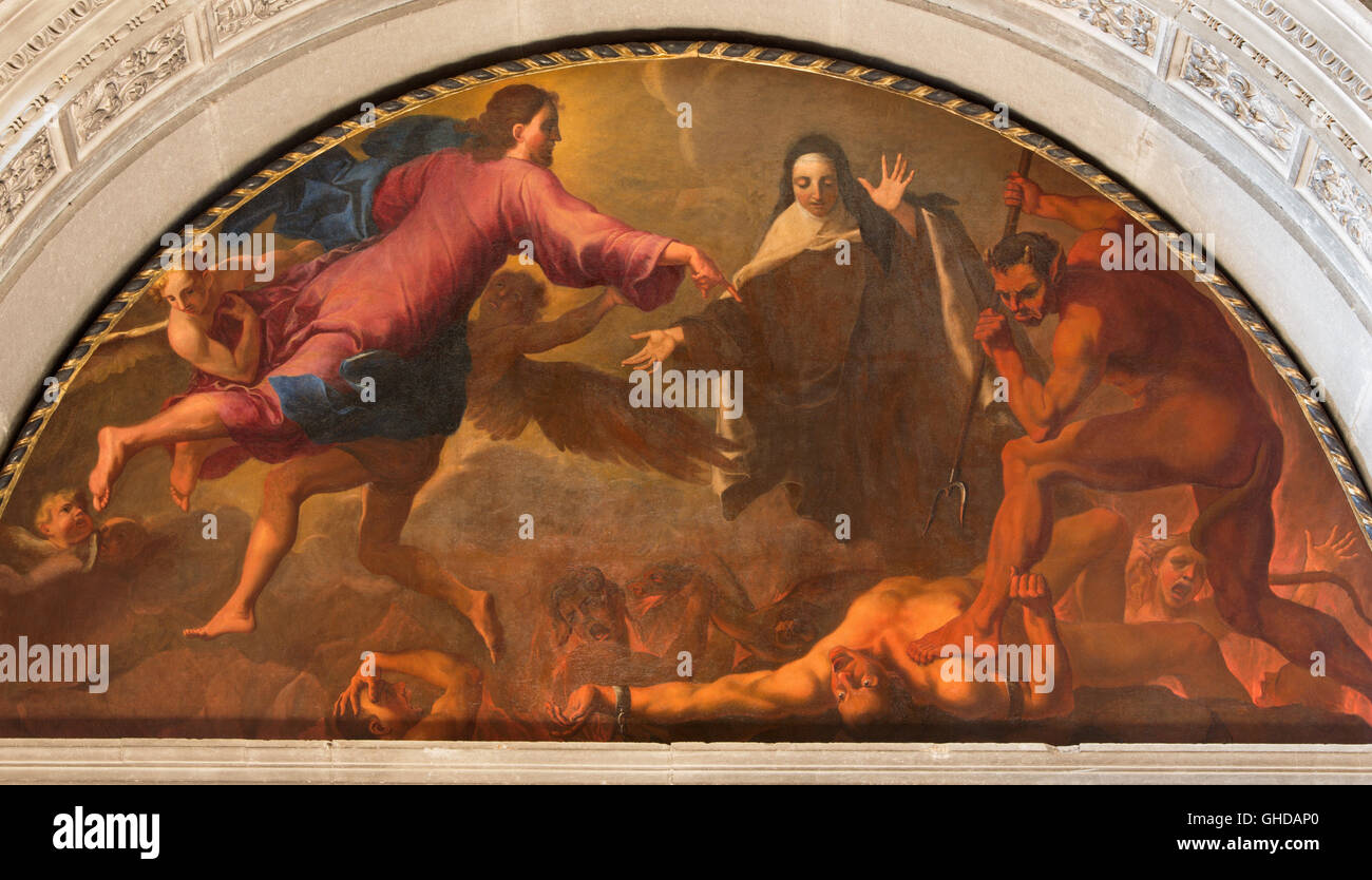 BRESCIA, ITALY - MAY 22, 2016: The painting St. Theresa of Avila's vision of hell  in Chiesa di San Pietro in - Stock Image