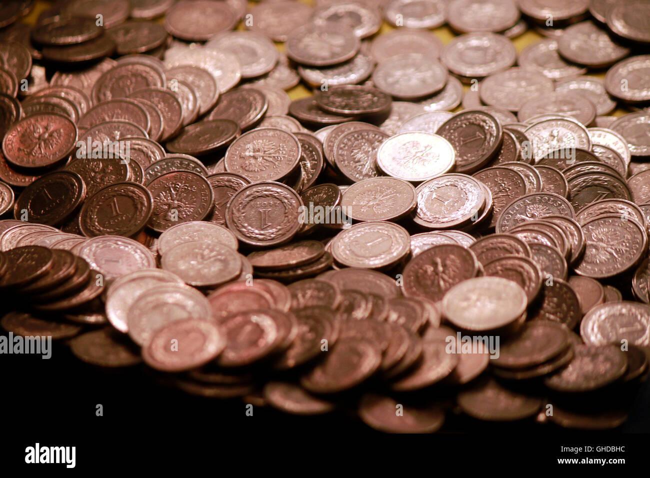 Geld, Muenzen, Kolberg, Polen. - Stock Image