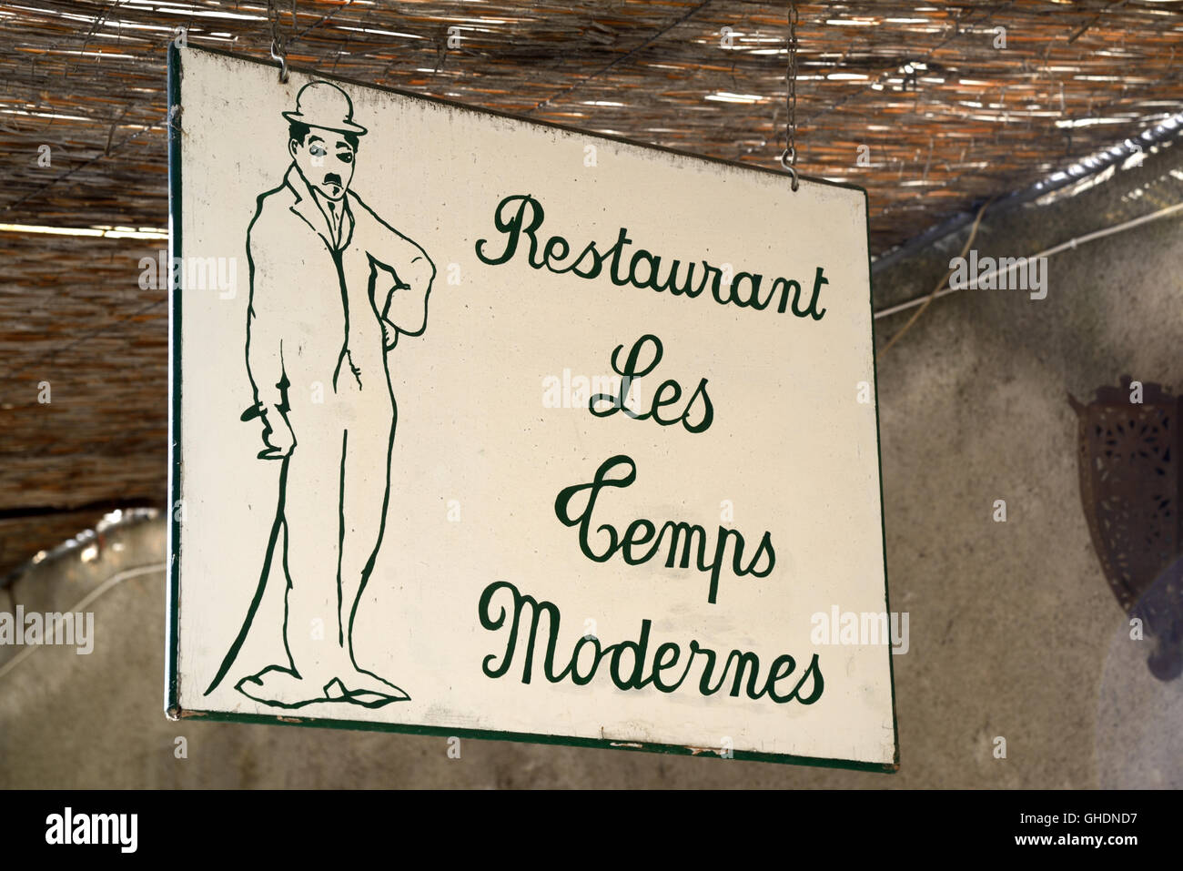 Sign for Charlie Chaplin Restaurant 'Modern Times' or 'Les Temps Modernes' Cucuron Luberon Provence - Stock Image