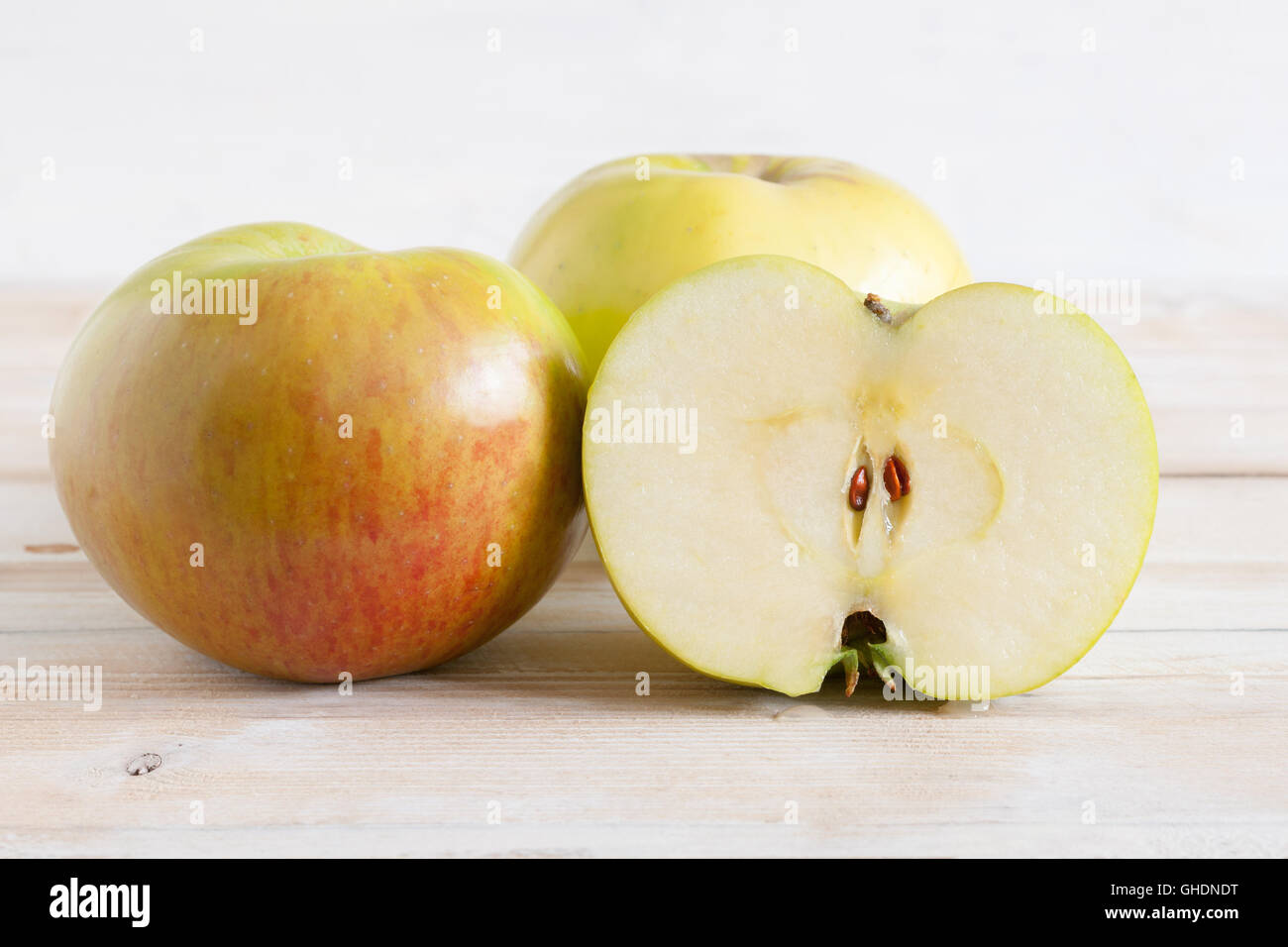 Bramley cooking apples or Malus domestica 'Bramley's Seedling' a popular British variety for making - Stock Image