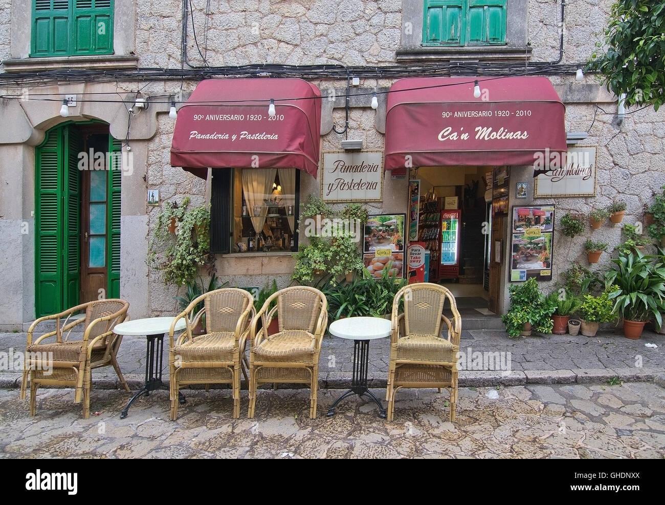 Can Molinas cafe entrance in Valldemossa, Mallorca, Balearic islands, Spain on April 30, 2016. Stock Photo
