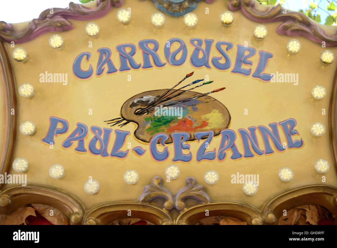 Paul Cezanne Artist's Palette Painted on Carousel or Carrousel Aix-en-Provence France - Stock Image