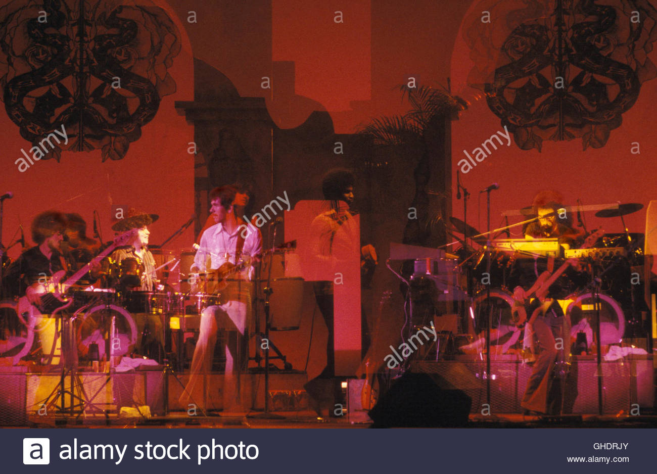 American Latin rock band Santana performing at The Palladium on March 5, 1977 in New York City. - Stock Image