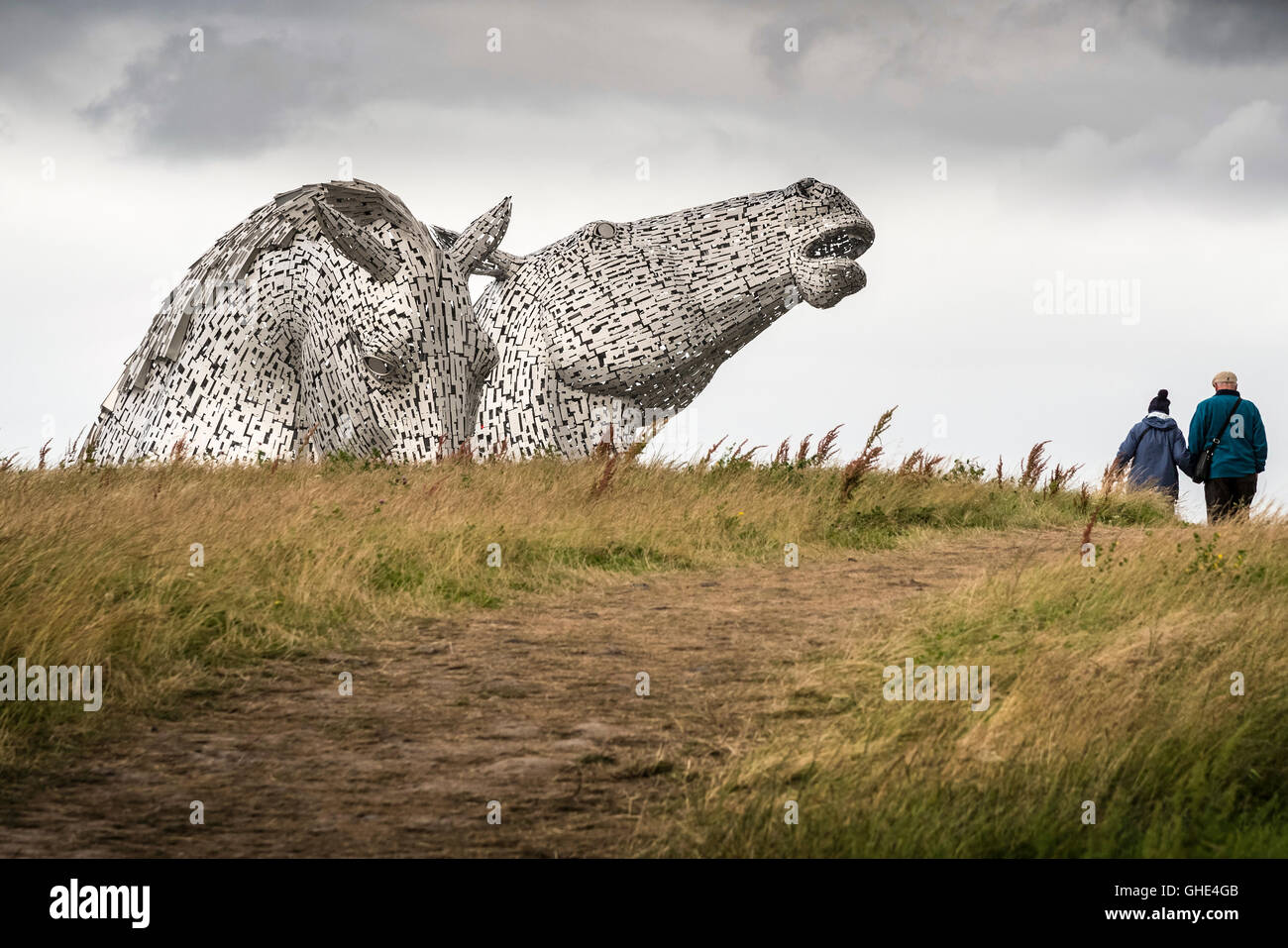 The Falkirk Kelpies. Each of The Kelpies stands up to 30 metres tall and each one weighs over 300 tonnes. - Stock Image