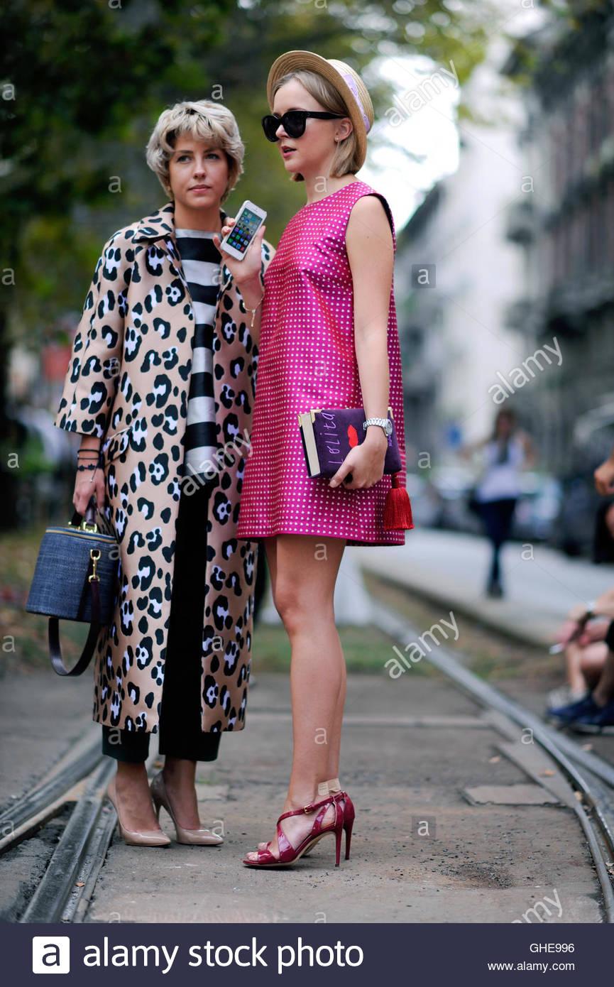 Woman at Viale Piave Milan during Milan Fashion Week. - Stock Image