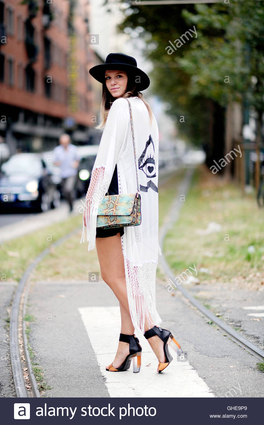 Street Style Fashion on Viale Piave during Milan Fashion Week. - Stock Image