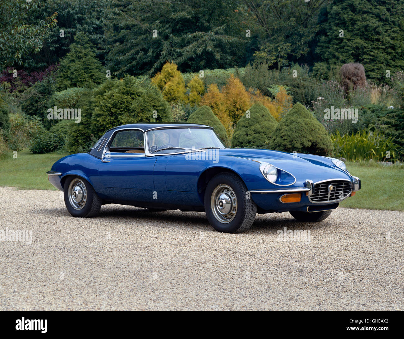1973 Jaguar E Type Series III Roadster with 5343cc V12 DOHC engine developing 272bhp and top speed of 150mph Country - Stock Image