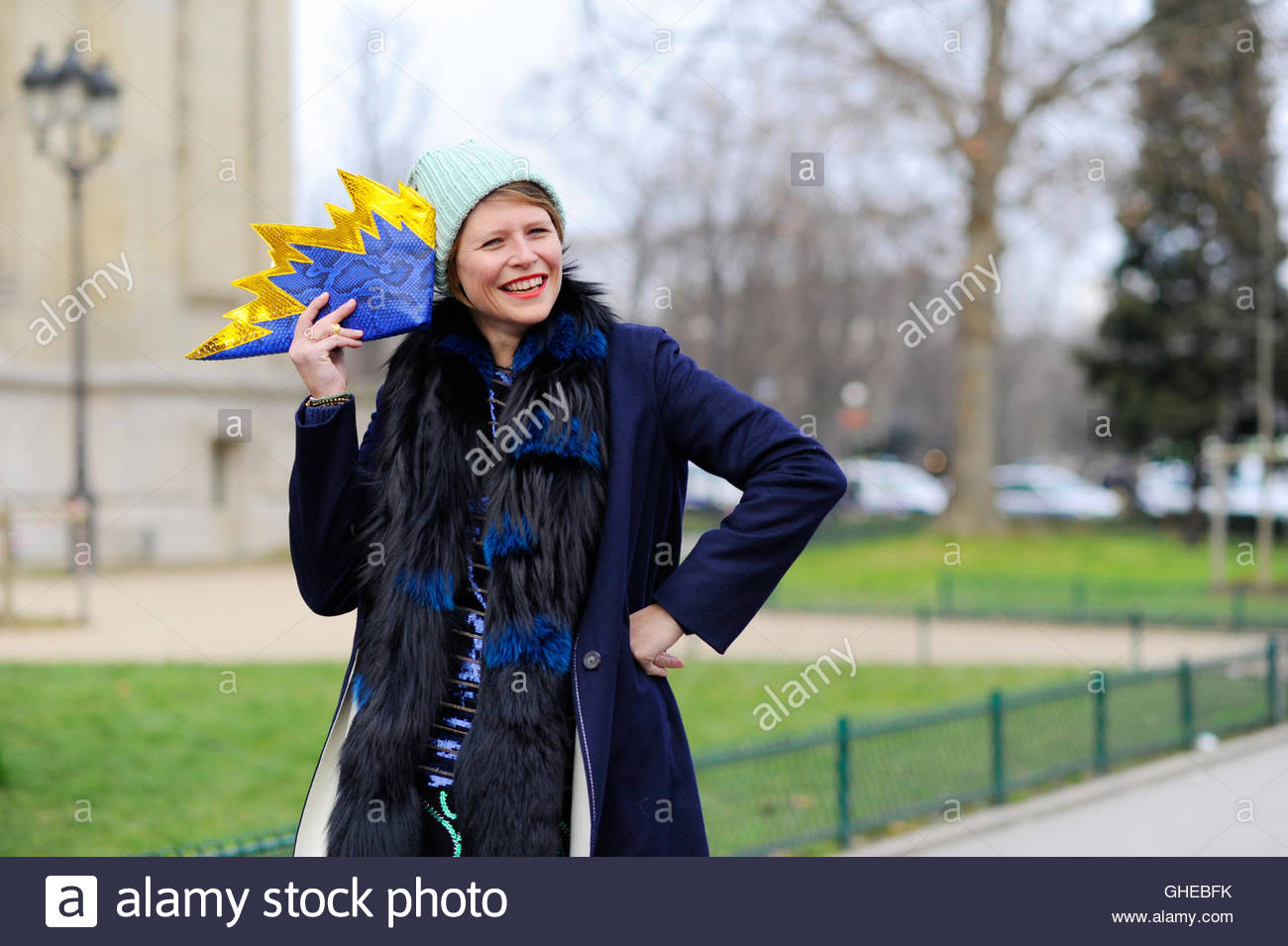 Stylist Elisa Nalin at The Grand Palais, Paris, after Chanel Haute Couture. - Stock Image